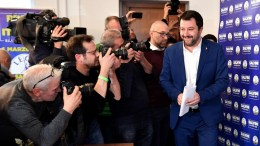 Federal Secretary of Italian party 'Lega' (League), Matteo Salvini (R), arrives for his press conference at the party's headquarter in Milan.   05 March 2018.  EPA, DANIEL DAL ZENNARO