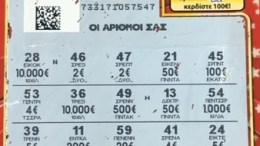 Το τυχερό δελτίο του ΣΚΡΑΤΣ που κέρδισε 1.000.000 ευρώ. Φωτογρααφία ΟΠΑΠ