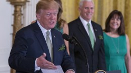 File Photo: US President Donald J. Trump speaks during the Shamrock Bowl Presentation at the White House in Washington, DC, USA. EPA, ALEX EDELMAN, POOL