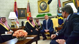 US President Donald J. Trump meets Crown Prince Mohammed bin Salman of the Kingdom of Saudi Arabia in the Oval Office at the White House in Washington, DC, USA, 20 March 2018. EPA, KEVIN DIETSCH