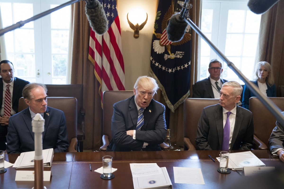 US President Donald J. Trump (C) speaks beside US Secretary of Defense Jim Mattis (R), US Secretary of Veterans Affairs David Shulkin (L); during a meeting with members of his Cabinet, in the Cabinet Room of the White House in Washington, DC, USA, 08 March 2018. EPA, MICHAEL REYNOLDS, POOL