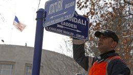 FILE PHOTO, A municipality worker changes a street sign to Zeytindali (Olive branch) in front of the US Embassy in Ankara, Turkey 19 February 2018. The Ankara Metropolitan Municipality decided to change the street name of the United States Embassy to 'Olive Branch,' which is the name of Turkey's military operation against US backed Kurdish Popular Protection Units (YPG) forces in Afrin of Syria. EPA, TUMAY BERKIN