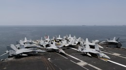FILE PHOTO, F-18 Hornet fighter jets are seen on the flight deck of the US aircraft carrier 'USS Carl Vinson' at the Manila Bay, Philippines, 17 February 2018. According to news reports, the 'USS Carl Vinson' is in Manila for a five day port call after a routine deployment mission in the disputed South China Sea. EPA, FRANCIS R. MALASIG