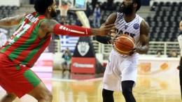 File Photo: Ο παίκτης του ΠΑΟΚ Τζόουνς Λάκι (Δ) μαρκάρεται από τον παίκτη της Καρσίγιακα David John Kennedy (Α) κατά τη διάρκεια του αγώνα ΠΑΟΚ - Καρσίγιακα για την φάση των «16» των Play-Offs του Basketball Champions League στο PAOK SPORT ARENA στη Θεσσαλονίκη, ΑΠΕ ΜΠΕ,PIXEL