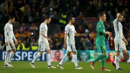 File Photo: Chelsea players Davide Zappacosta (C), Marcos Alonso (R), Alvaro Morata (L) and Andreas Cristensen (2-L) at the end of the UEFA Champions League round of 16 second leg soccer match against FC Barcelona played at the Camp Nou stadium in Barcelona, Spain, 14 March 2018. EPA.ENRIC FONTCUBERTA