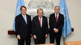 File Photo: Ο Πρόεδρος της Κυπριακής Δημοκρατίας Νίκος Αναστασιάδης (Α) ο Τουρκοκύπριος ηγέτης Μουσταφά Ακιντζί (Δ) και ο Γενικός Γραμματέας του ΟΗΕ Αντόνιο Γκουτέρες (Κ), φωτογραφίζονται κατά την διάρκεια της συνάντησης τους στην έδρα του ΟΗΕ στη Νέα Υόρκη. ΑΠΕ-ΜΠΕ, ΔΗΜΗΤΡΗΣ ΠΑΝΑΓΟΣ