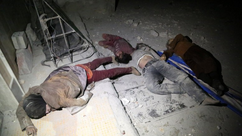 Bodies of victims of alleged chemical attack lie on the ground in rebels-held Douma, Syria. EPA, EMAD ALDIN ATTENTION