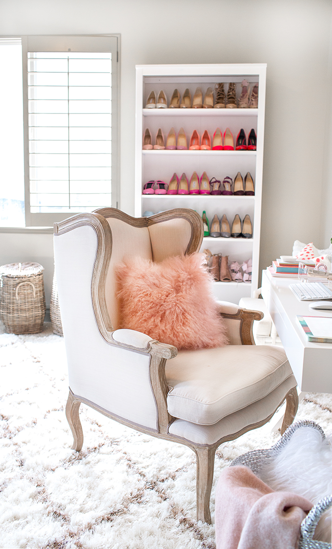 pink fluffy pillow home office makeover emily