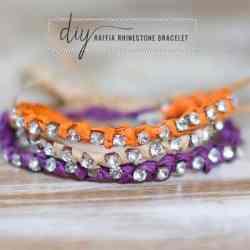Tory Burch-Inspired Raffia Rhinestone DIY Bracelet