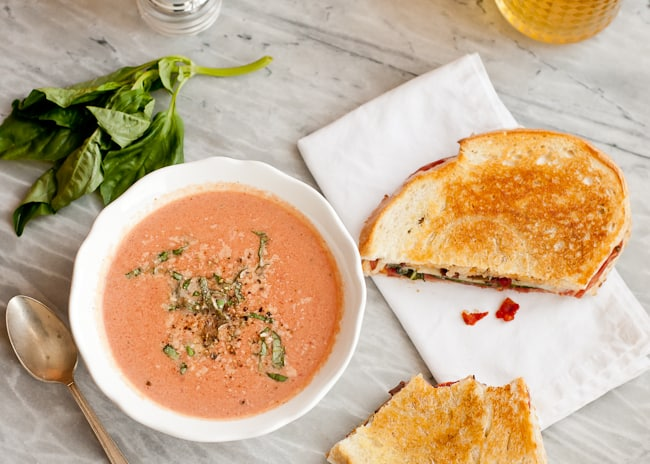 Grilled Cheese Sandwich + Creamy Tomato Soup | HelloGlow.co