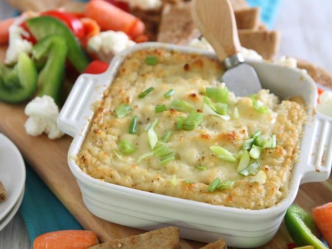 Cheesy, Garlicky Roasted Cauliflower Cheddar Dip Recipe | Hello Glow