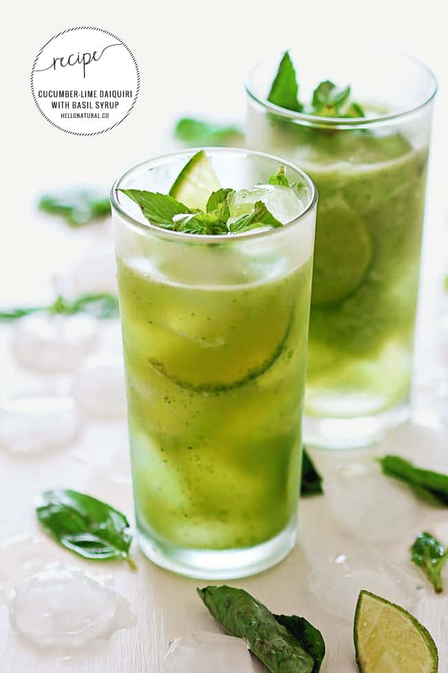 Cucumber-Lime Daiquiri with Basil Agave Syrup