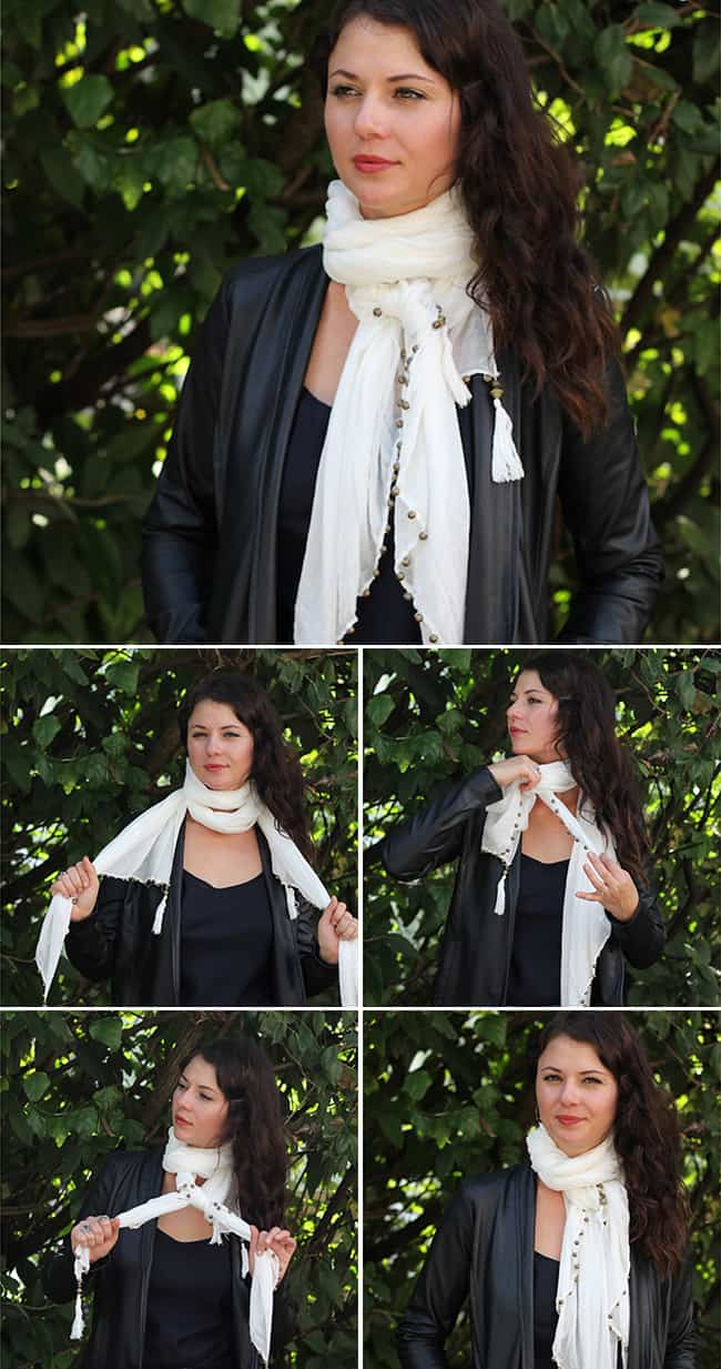 Double Loop | 13 stylish ways to tie a scarf | HelloGlow.co