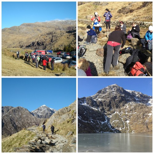 Getting ready, on the way, paths, pants, frozen lakes and Snowdon