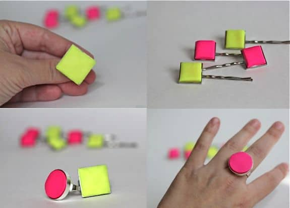 DIY clay statement neon ring
