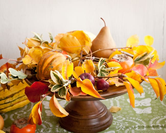 thanksgiving centerpiece - add squash and more leaves