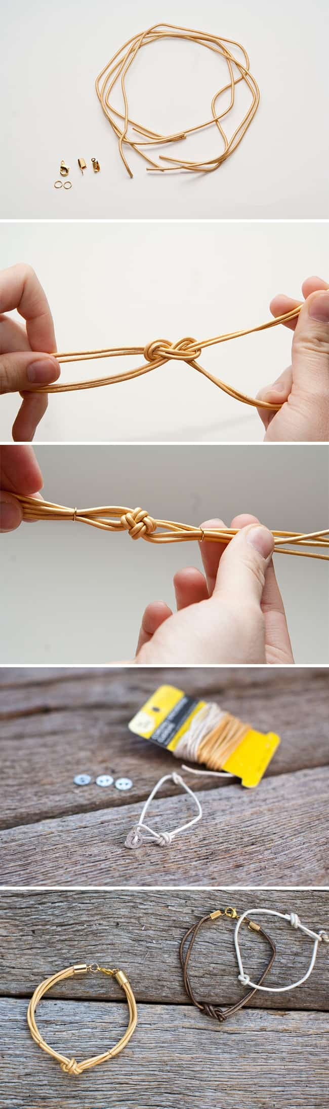 DIY Knotted Leather Bracelets | HelloNatural.co