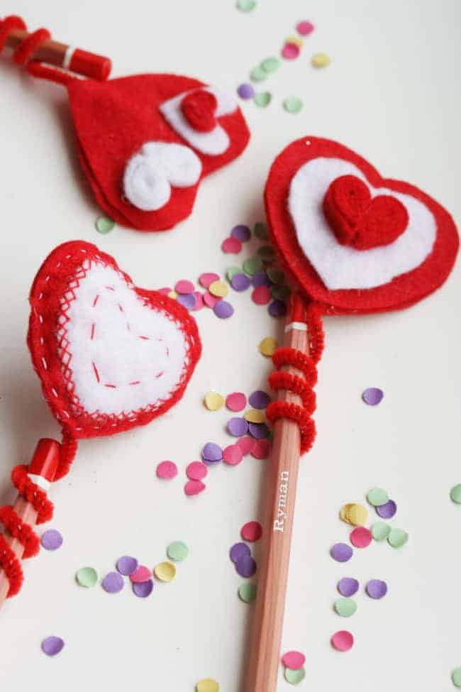 DIY Felt heart pencil topper | Henry Happened