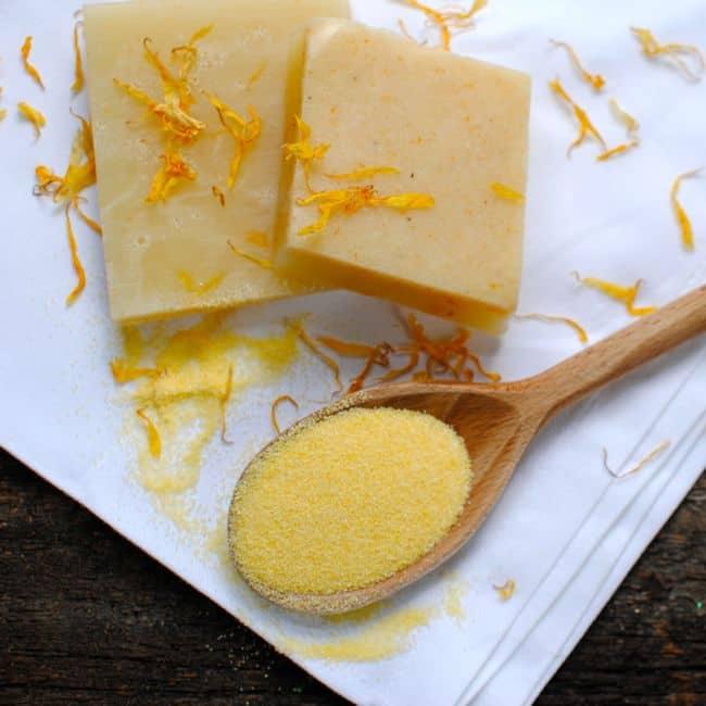 Calendua and Cornmeal Soap | Homemade Soap 4 Ways | HelloNatural.co