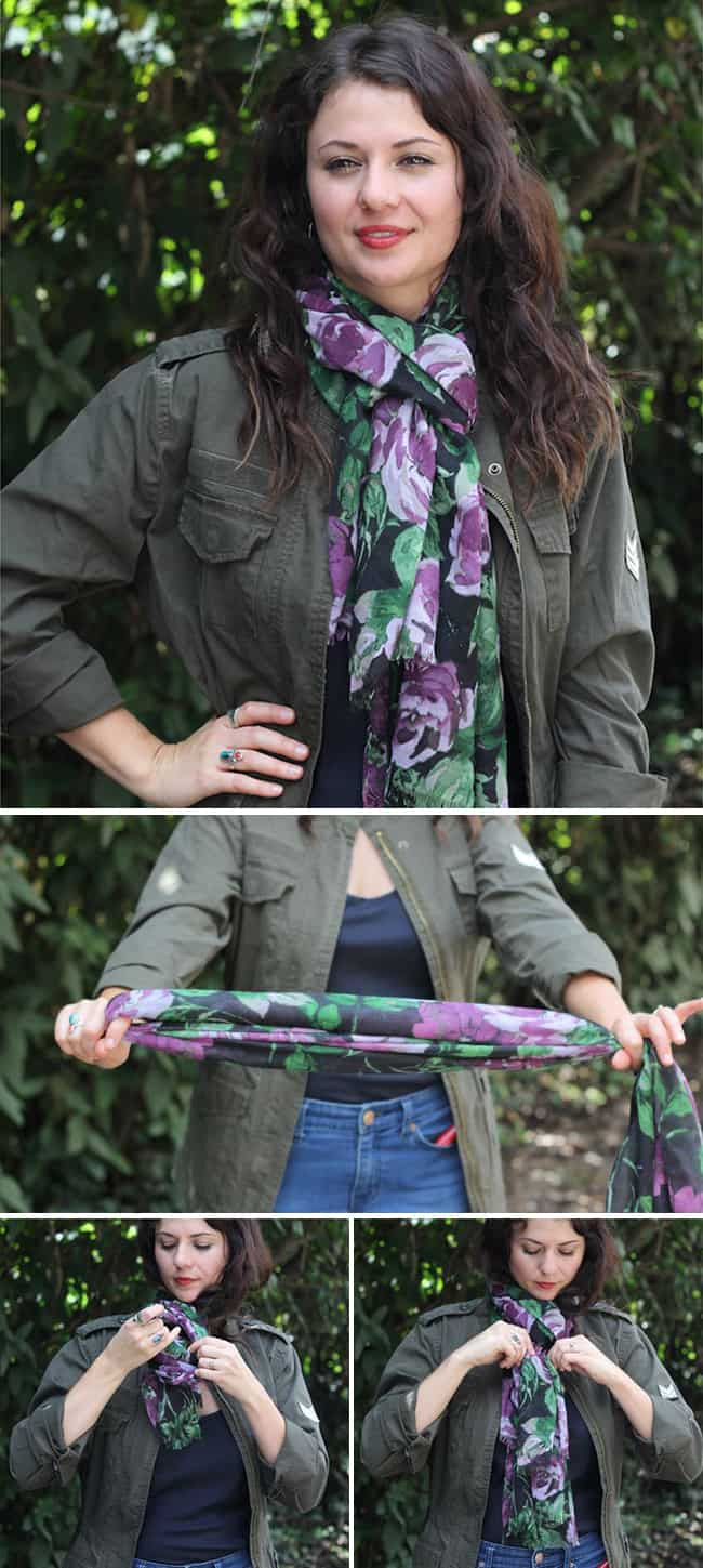 Classic Loop | 13 stylish ways to tie a scarf | HelloNatural.co