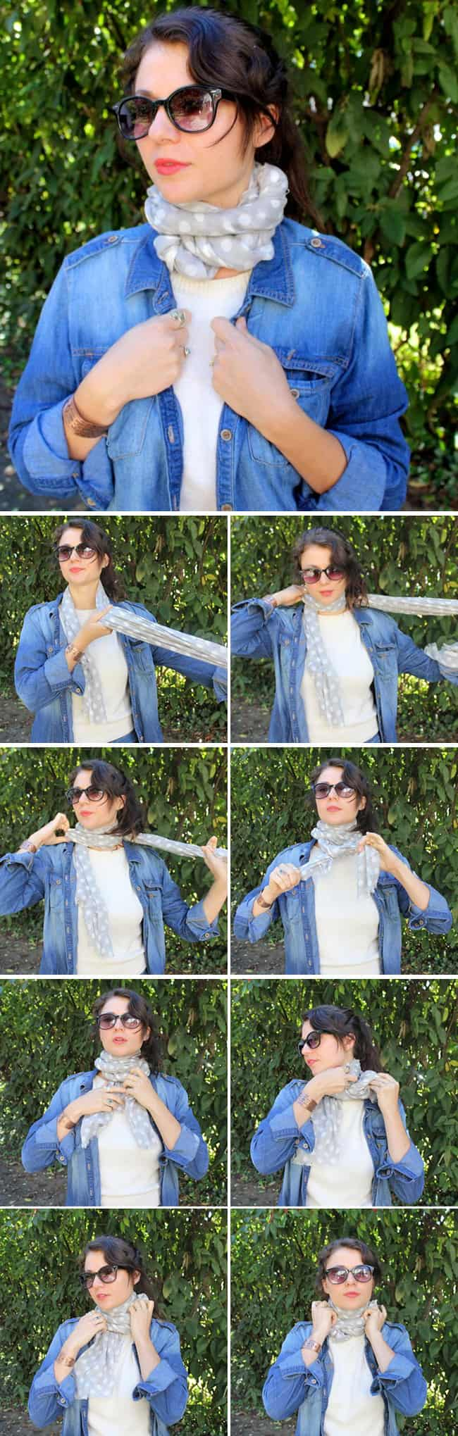 Cozy Neck Wrap | 13 stylish ways to tie a scarf | HelloNatural.co