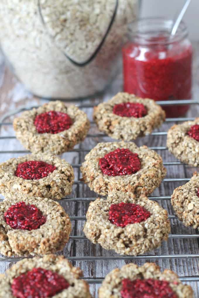 Oat Thumbprint Cookies with Chia Seed Jam