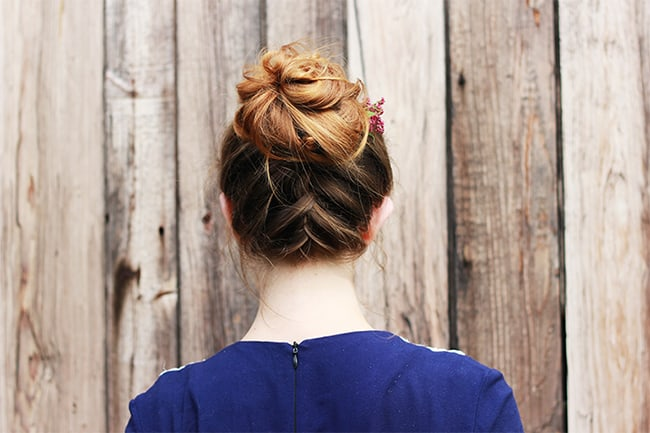 Messy upside down French braid by The Merrythought | 12 Bun Tutorials