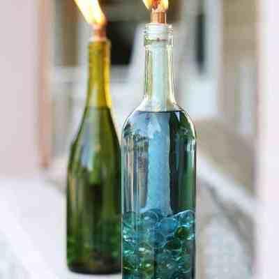 DIY: Wine Bottle Citronella Candles