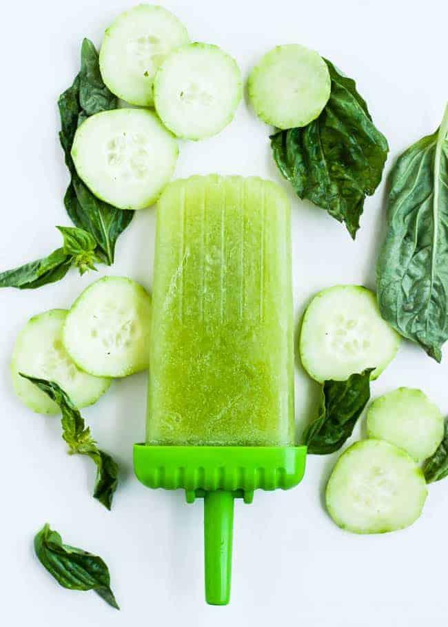 Cucumber basil spa pops