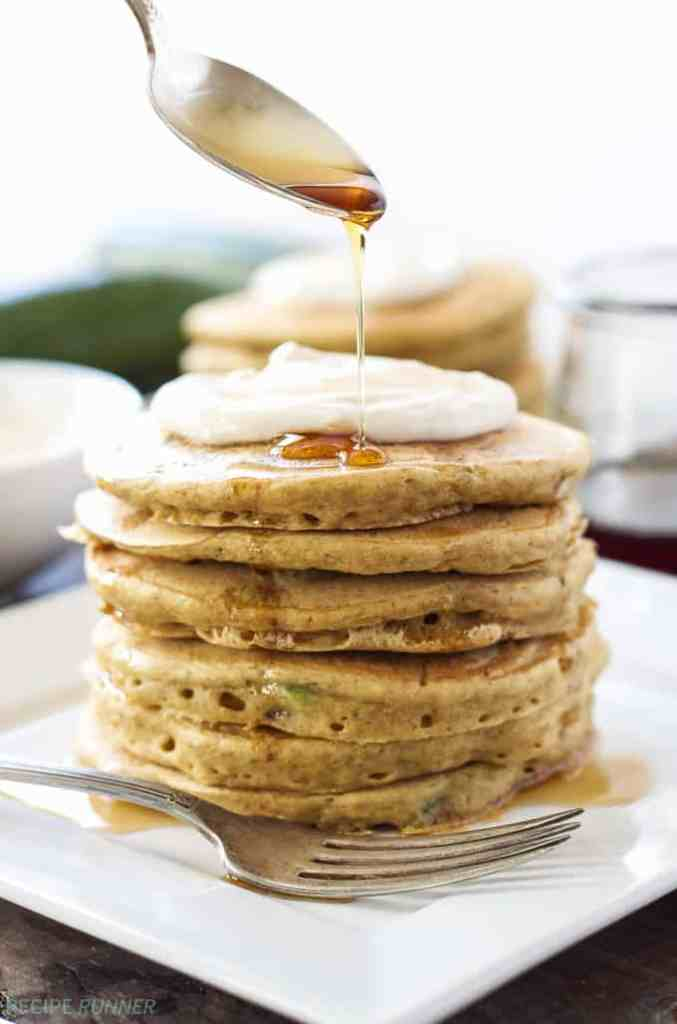 Zucchini Bread Pancakes with Maple Cream Cheese by Recipe Runner