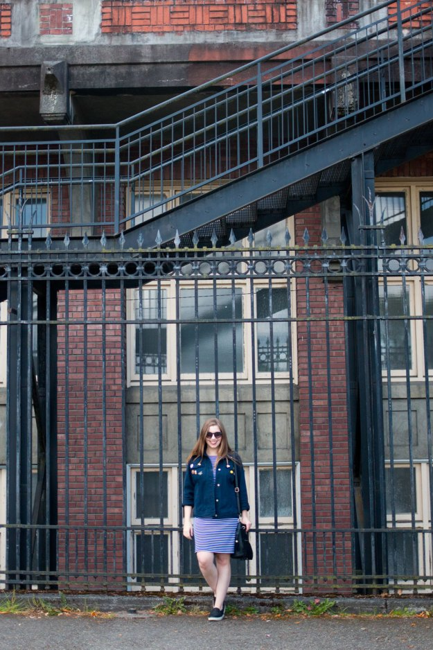 90s Denim Jacket with Pins + Striped Summer Outfit // Hello Rigby Seattle Fashion Blog