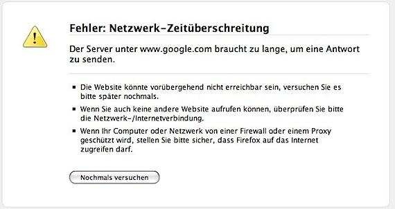 Google nicht erreichbar