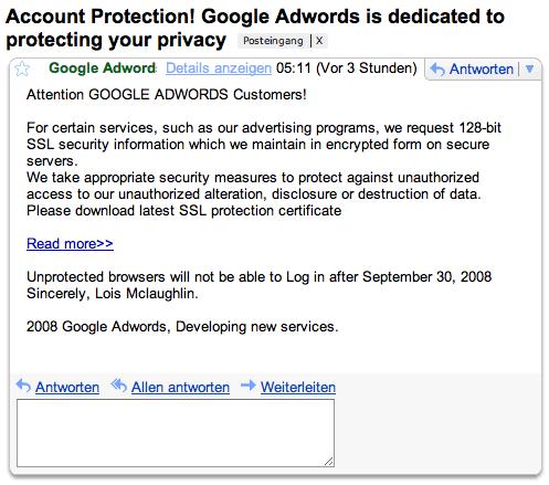 Google Adwords Phishing Mail