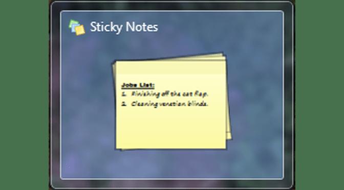 windows 7 sticky notes