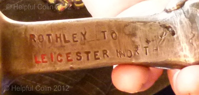 'ROTHLEY TO LEICESTER NORTH' is clearly seen stamped into this Single Track Token.