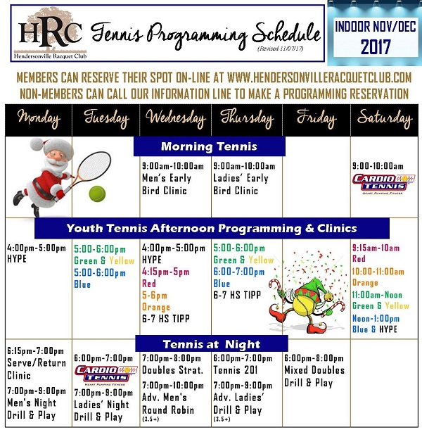 HRC Programming Schedule 2017 Indoor