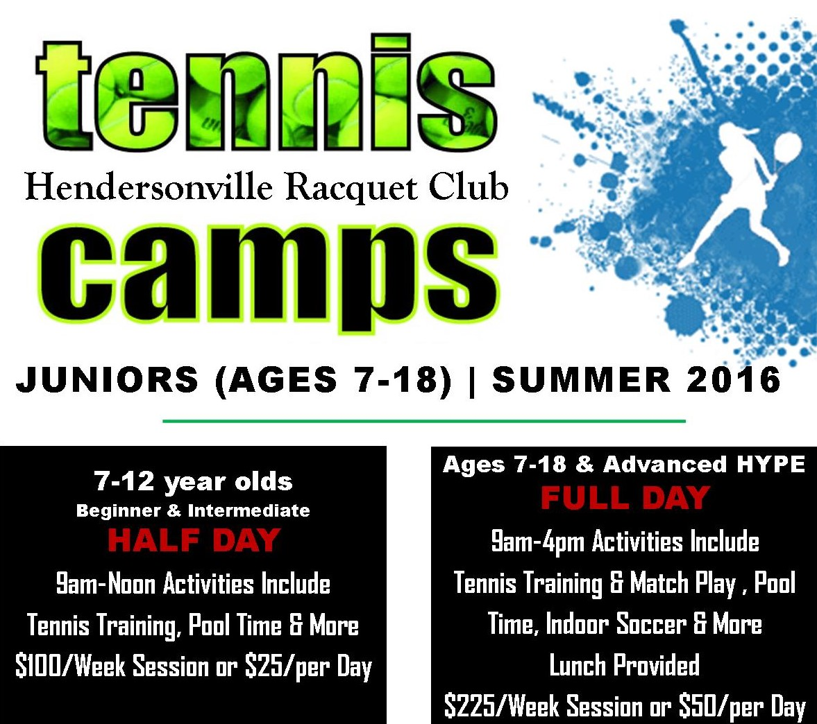 Tennis Youth Summer Camp 6/20-24, 6/27-7/1, 7/18-22, & 7/25-29