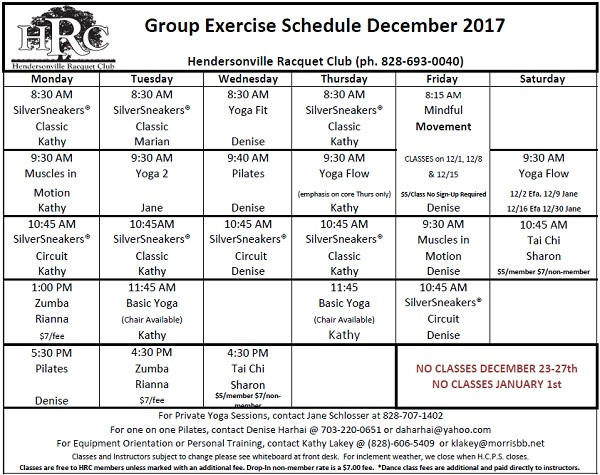 HRC Monthly exercise calendar 2017 12