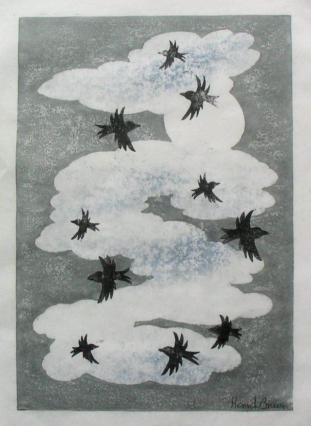 Månen, skyer og sorte fugle farvetræsnit