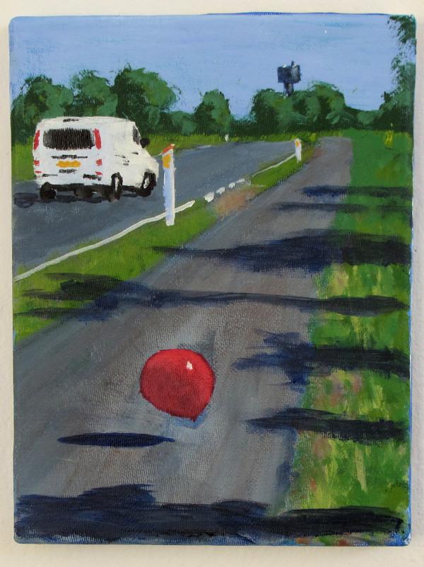 Ballon på vejen, Risø. Maleri af Henrik Bruun, 24 x 18