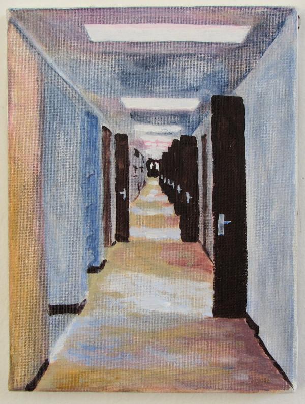 På arbejde, Risø, maleri af Henrik Bruun, 24 x 18