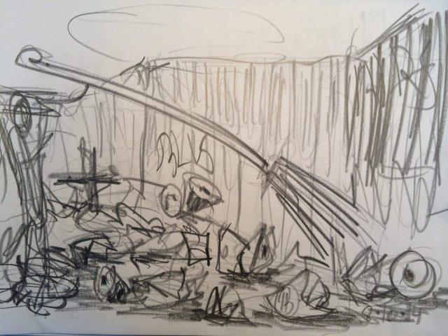 Fejning, tegning af Henrik Bruun