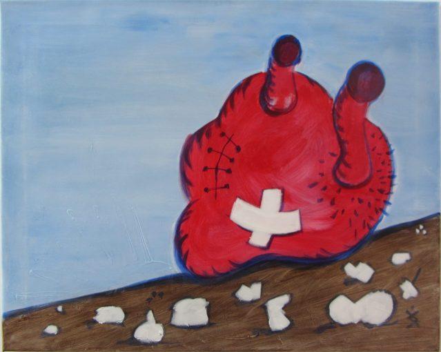 Sissyfos hjerte (efter P. Guston) af Henrik Bruun, akryl på lærred, 55 x 70, 2015