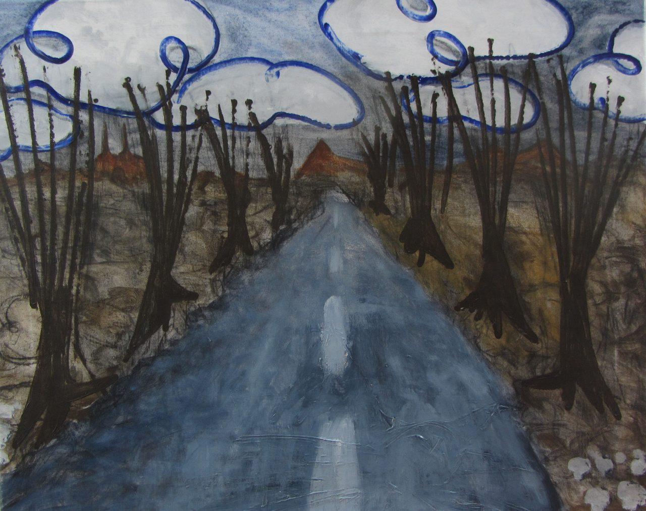 Ledreborg Allé, af Henrik Bruun, akryl på lærred, 56 x 70, 2015