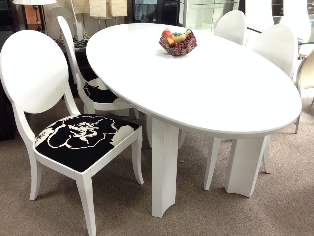Oval White dining table and dining chairs - Henry Furnishing ...