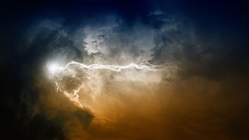 Apocalyptic background - flash and lightning in dramatic dark sky