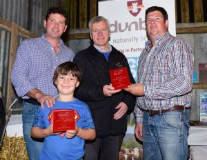 Small Herd winner Greer Watson with 2nd Stephen Baxter along with Dunbia Sponsor Kenny Linton