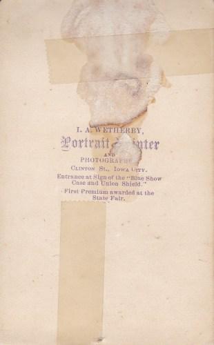 A. Beerbower, Iowa City, Iowa photographer, reverse.