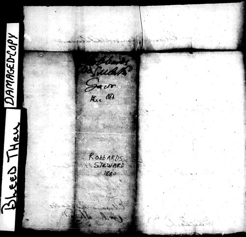 Outer paper of Stewart-Roberts File. Note spelling of names.