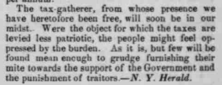 """""""The Passage of the Tax Bill"""" from the N.Y. Herald, printed in The Indiana State Sentinel, 30 June 1862: Vol. 22, No. 6, Whole No. 1,199, Page 1, Column 7. Via Chronicling America."""